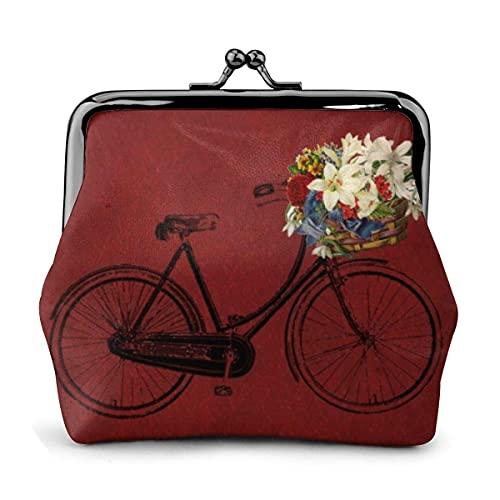 Portafogli donna Rosso, all'aperto o al coperto, bicicletta, bicicletta, fiori, donna, cuoio, squisito, portamonete, bacio, serratura, portamonete, portamonete, portacarte di credito, custodia