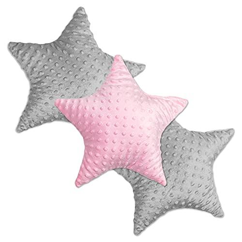 Cojín Decorativo para habitación Infantil Estrella – Cojín de Felpa para niños niñas niños cojín Decorativo Rosa Gris Claro Minky