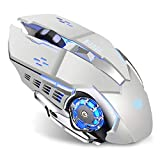 Q85 Rechargeable Wireless Gaming Mouse, 2.4G LED Optical Silent Wireless Computer Mouse with 4 LED...