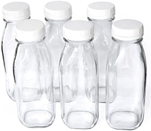 1 Pint 16 oz Glass Beverage Bottles with Screw On Cap Set of 6 product image