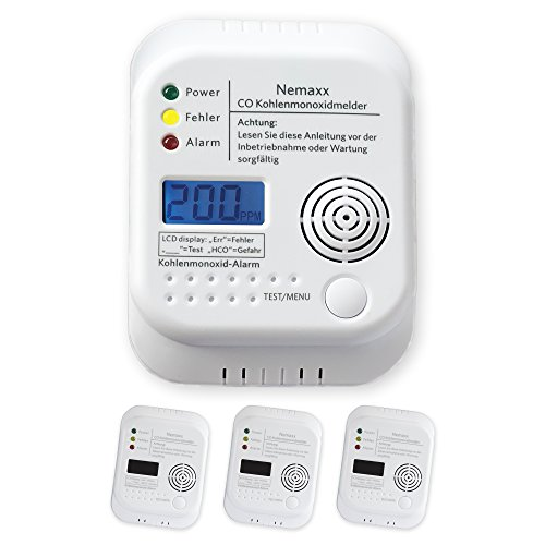 3X Nemaxx CO Melder Kohlenmonoxid Gasmelder Gaswarner Rauchmelder nach DIN EN50291