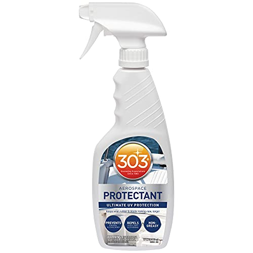 Photo of white and blue colored bottle of 303 Marine UV Protectant Spray