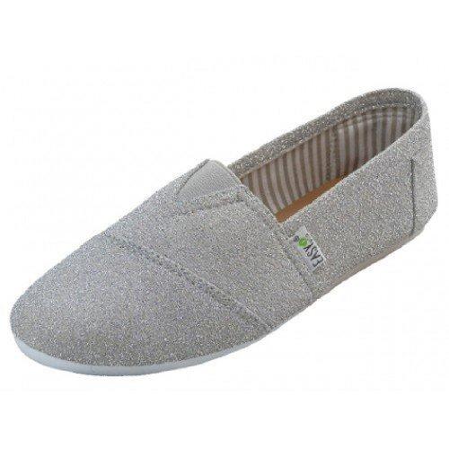 Womens Canvas Slip on Shoes Flats 2 Tone 10 Colors (9, Silver 308L)