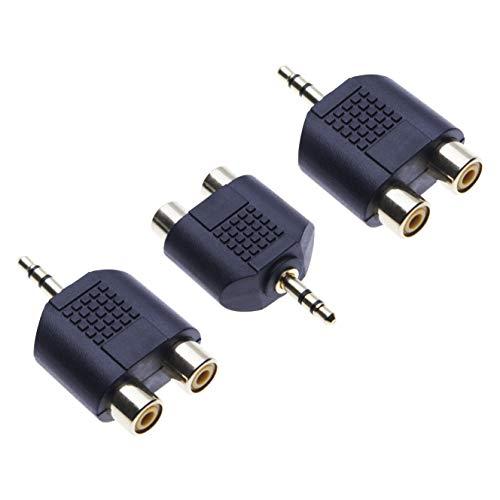 klinke Cinch Adapter von Keple, Klinke 3,5 mm zu 2x Cinch Y Audioadapter, AUX 3 5 mm auf 2x RCA Stereoadapter, Klinke buchse auf Doppelt Phono, Vergoldet Schwarz Audiostecker (3 Stück)