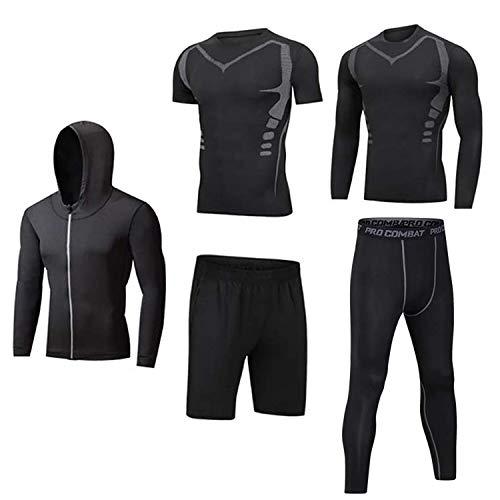 Männer Workout Kleidung Outfit Fitness Bekleidung Fitnessstudio Outdoor Laufen Kompressionshose Shirt Top Langarm Jacke 4PCS oder 5pcs