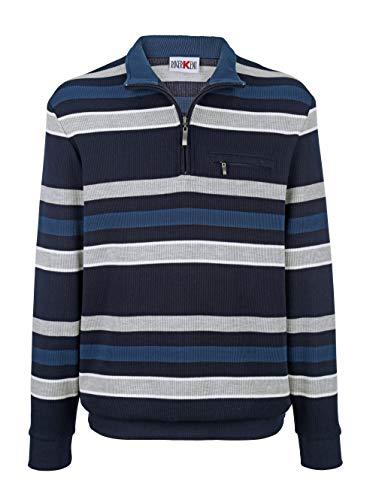 Roger Kent Herren Sweatshirt Langarm Gestreift mit Stehkragen in Marineblau aus Baumwolle