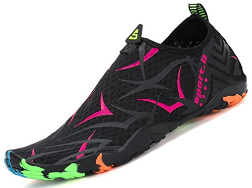 katliu Zapatos de Agua Mujer Hombre Escarpines para Surf Piscina Playa Yoga Deportes Acuáticos,Negro Rose Red,37 EU
