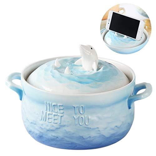 Home big Wrist Leuke slaapzak Bubble Bowl met deksel van keramiek Creative kom voor grote studenten Instant Noodle Bowl Decoratieve fruitschaal