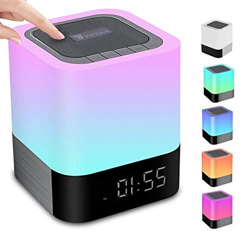 5 in 1 Tragbarer Bluetooth Lautsprecher Kabellos Nachttischlampe Touch Dimmbar, Wecker Digital, Freisprechen, MP3-Player, Lautsprecher, mit SD Karte, USB und Bluetooth