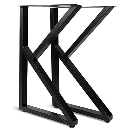 Greensen Juego de 2 Patas de Muebles, Patas de Mesa Rústicas en Forma de K, Patas de Escritorio de Metal Resistente, Patas de Mesa de Comedor, Industrial Moderno, para Mesa de Bricolaje, 71x45 cm