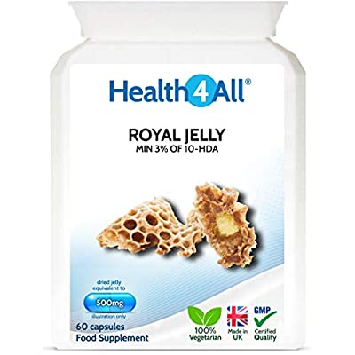 Royal Jelly 500mg 60 Capsules (V) (not Tablets) Anti-ageing and Immunomodulatory Supplement. Made in The UK by Health4All