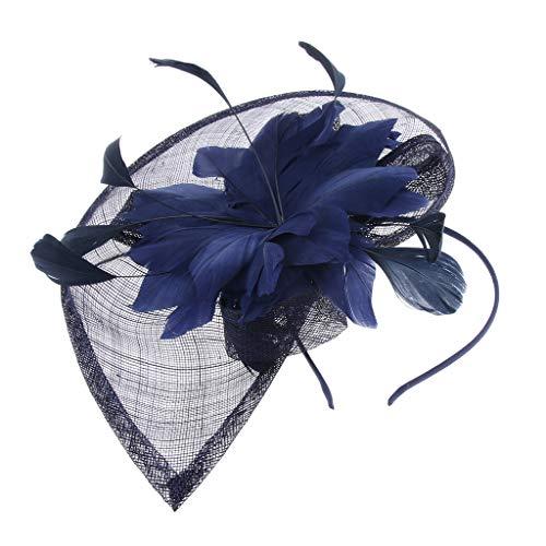 Frauen Feder Mesh Haarschmuck Fascinator Schleier Haarreif Haarband Stirnband Braut Hochzeit Cocktail Hut Derby Zubehör - Dunkelblau