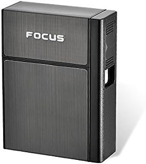RaiFu ライター USB充電 軽量 ビジネスマン ポータブル プラスチック アルミ製 タバコボックスケース リムーバブル 20本タバコ収納可能 黒