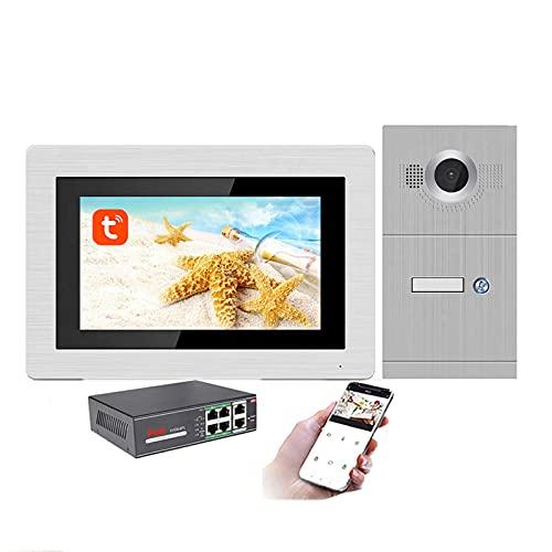 Timbre con video Tuya WiFi, intercomunicador con videoportero con monitor de 7 pulgadas, cámara de seguridad con visión nocturna POE, desbloqueo remoto de la APP,1 apartment