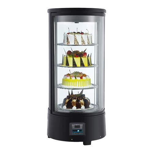 Kühlvitrine Schwarz Kuchenvitrine Gastro - 80Liter - R 134 A - rund, elektrisch rotierende Teller, Doppelverglast