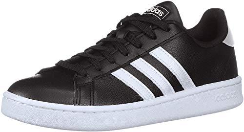 adidas womens Grand Court Running Shoe, Black/White/Black, 7.5 US