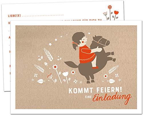 12 Einladungskarten Kindergeburtstag - Pony - Geburtstagseinladungen für Mädchen, Postkarten Set für Kinder, Geburtstag oder Einschulung, Pferde Design, Braun Beige Weiß Rot