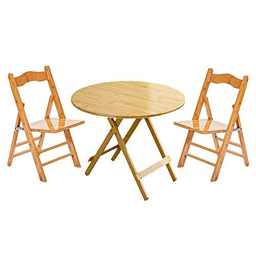 LNNL Mesas portátiles y sillas portátiles de Madera Maciza Inicio Picnic al Aire Libre Instalación Gratuita Mesas Redondas y sillas (Color : Primary Color, Size : 80 * 75cm)