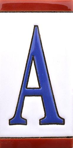 ART ESCUDELLERS Numeros y Letras en azulejo de Ceramica, Pintados a Mano en técnica Cuerda Seca para Nombres, direcciones y señaléctica. Diseño USA Mediano 10,9 cm x 5,4 cm. (Letra A)