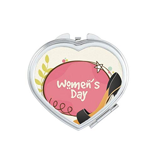 DIYthinker Hoge hakken Women'S Day Patroon Hart Compact Make-up Spiegel Draagbare Leuke Hand Pocket Spiegels Gift