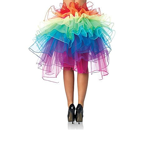 Women Layered Rainbow Tutu Skirt Dancing Ruffle Skirt Mini Bubble Skirt Petticoat - One Size Fits Most