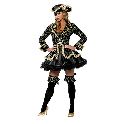 GBYAY Piraten Kostüm Damen Rock Halloween Party Cosplay Fantasy Stage Performance Schwarz Gold Mit Blinder Hut Karneval Outfit