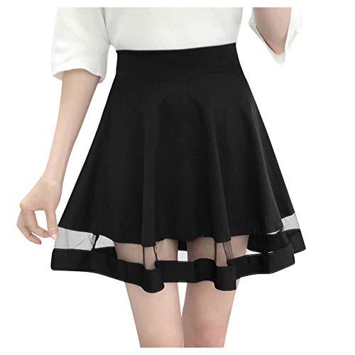 Falda corta de cintura alta para mujer, para patinar, tenis, escuela, campanas, patinaje Negro 36