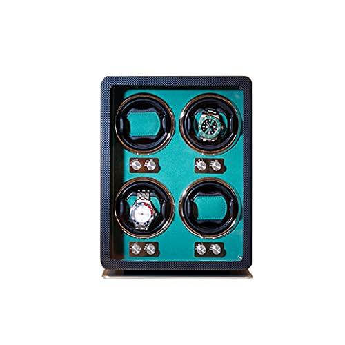 LRBBH Cajas Giratorias para Relojes Barniz Papel Fibra Carbono + MDF Rotación Cuerda Automática del Reloj Caja Almacenamiento Lujo Madera para 4 Relojes Pulsera Fácil Acceso