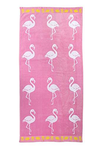 jilda-tex Strandtuch 90x180 cm Badetuch Strandlaken Handtuch 100% Baumwolle Velours Frottier Pflegeleicht (Flamingo Tropical)