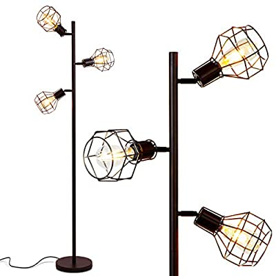 Brightech - Robin LED Floor Lamp – Industrial Modern Style Cage Lantern Shade - Tall Free Standing Tree Pole with 3 Vintage LED Light Bulbs - Contemporary Bright Lamp for Living Room, Office - Black