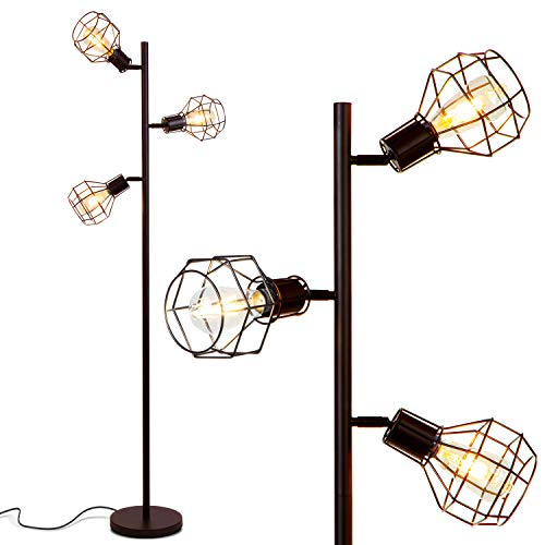 Brightech Robin - Industrial Tree Floor Lamp with 3 Cage Heads & Vintage Edison Bulbs - Rustic, Farmhouse Pole Light for Living Rooms - Free Standing LED Lighting for Bedroom - Black