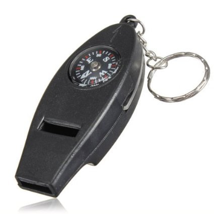 CAMTOA 4En1 Porte-Clés de Survie Multi-fonction Sifflet Boussole Thermomètre Loupe UK