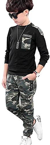Jungen Schwarz Langarm T-Shirt + Camouflage Hosen, 2-teiliges Bekleidungssets für Kinder, Schwarz, Etikettengröße: 140