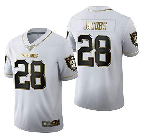 Herren Rugby-Trikot Las Vegas Raiders #28, Herren T-Shirt American Football Uniform Junge Fußball-Trikots T-Shirts - Weiß - XL (185~190)