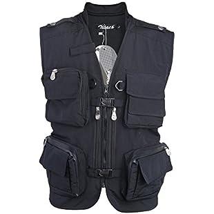 Zicac Mens Outdoor Photography Camping Hunting Fishing Vest Multipocket Nylon Cotton Waistcoat Jacket Bodywarmer Camo Gilet - Black - UK L (Asia Tag XL):Kisaran