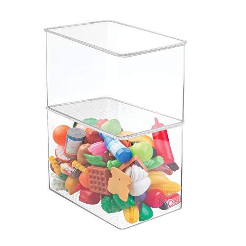 mDesign 2er Set Aufbewahrungsbox mit Deckel – hohe, stapelbare Box fürs Kinderzimmer – praktische Spielzeugaufbewahrung aus Kunststoff für Spielklötze & Co. – durchsichtig