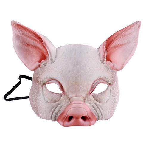 Toyvian Half Face Animal Mask Máscara de Cerdo para Fiesta Festival Halloween Masquerade Fancy Ball Cosplay (Rosa)