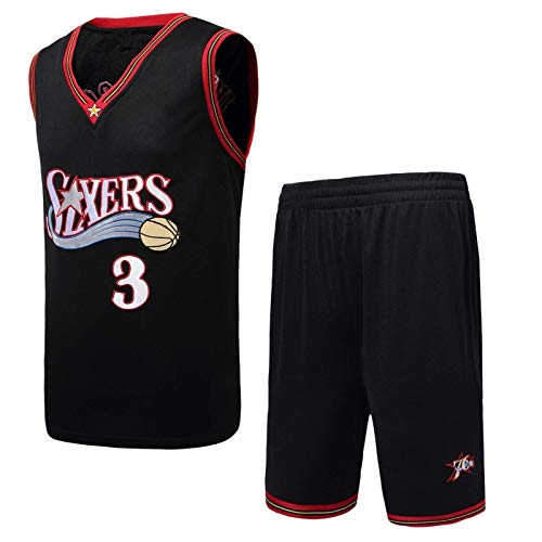 Maglia Da Basket NBA Philadelphia 76ers # 91 Allen Iverson Da Uomo, Tessuto Traspirante A Rete Retrò Neutra Swingman Basket Sportswear T-Shirt Uniforme Canotta + Pantaloncini 1 Set (S-3xl)