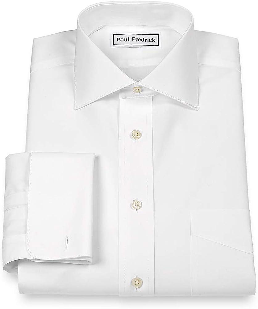 Paul Fredrick Men's Slim Fit Non-Iron Cotton Solid Spread Collar Dress Shirt
