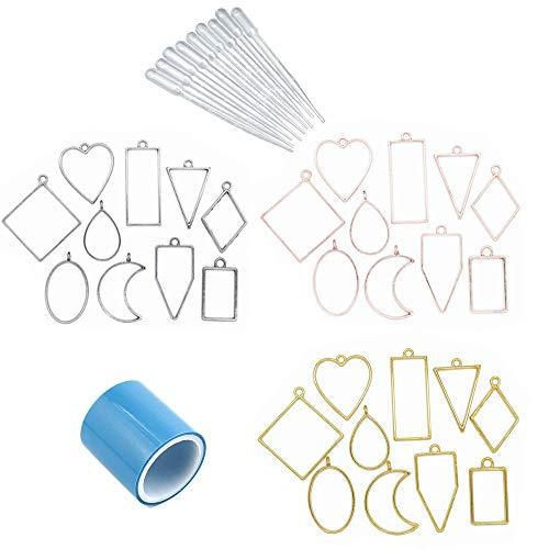 Anhänger Formen, 30 Stück Rahmenanhänger, Anhänger Lünette, mit Nicht Markierendem Klebeband, 10 Pipette, für Halsketten, Armbänder, Ohrringe, Schlüsselringe (Antikes...