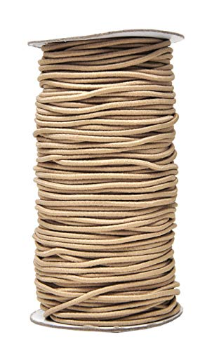 Mandala Crafts Elastic Cord Stretchy String for Bracelets, Necklaces, Jewelry Making, Beading, Masks (Tan, 2mm 76 Yards)