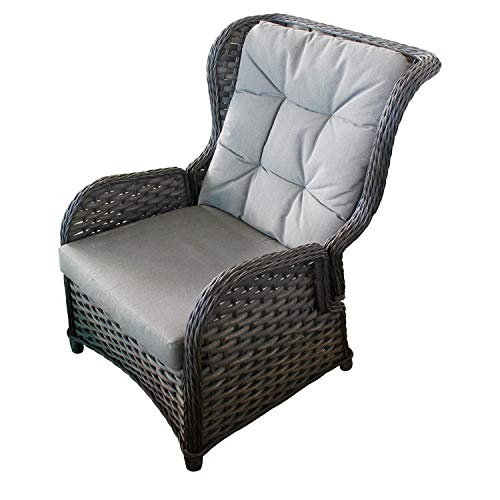 Mojawo Comfort Relaxsessel Flachrattan Ohrensessel Polyrattan, inkl. Polster verstellbare Rückenlehne Gartensessel Rattansessel