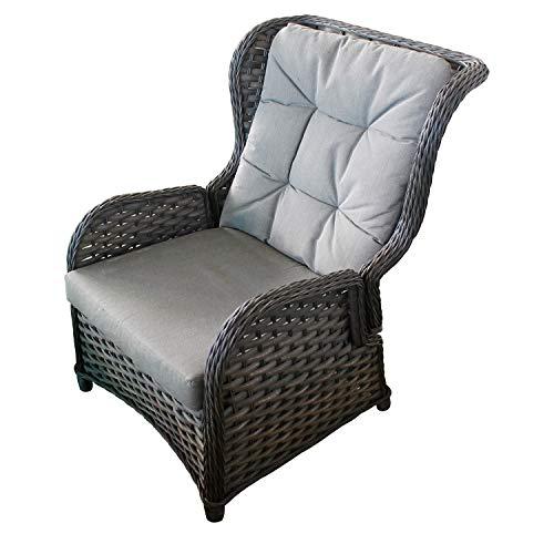 FineHome XXL Comfort Relaxsessel Flachrattan Ohrensessel Polyrattan, inkl. Polster verstellbare Rückenlehne Gartensessel Rattansessel