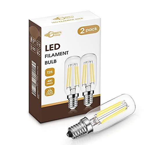 DORESshop E14 LED Leuchtmittel für Dunstabzugshaube, 4W Dunstabzugshaube lampe, T25 400LM Edison LED, Ersetzt 40w Glühbirne, Kaltes Weiß 6000K, Nicht Dimmbar, Glühbirne für Dunstabzugshaube, 2er-Pack