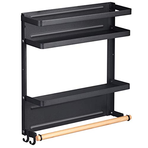Magnetic Spice Rack Organizer Single Tier Refrigerator Spice Storage Shelf, Easy to Install The Side of The Refrigerator Can Hold spices, Jar of Olive Oil (Black L)
