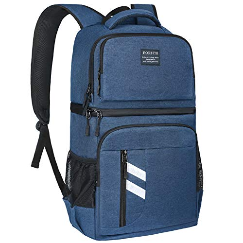 FORICH Cooler Backpack Insulated Soft Backpack Cooler Bag Leak Proof Lightweight Cooler Backpack for Men Women to Lunch Work Beach Picnics Camping Hiking, 30 Cans (Blue)