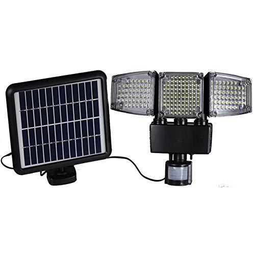 Solar buitenlamp LED met bewegingsmelder zonnelamp IP44 waterdicht hoek 220o verlichting voor tuin, garage, weg [energieklasse A], zwart, 188LED