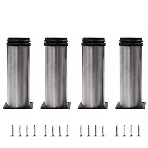 4 Piezas Gabinete de Muebles Patas de Metal Patas de Gabinete de Acero Inoxidable Patas de Muebles Ajustables Redondas para Sofás Armarios de Mesa Estantes (Color : Silver, Tamaño : 25cm/9.8in)