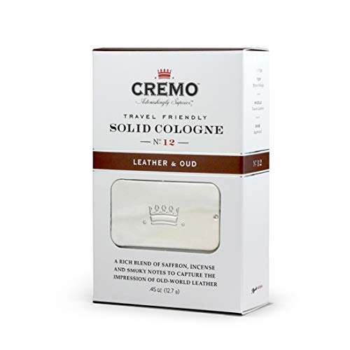 Cremo Leather & Oud Travel Friendly Solid Cologne, A Smoky, Old World Scent With Notes Of Bitter Orange, Tuscan Leather, And Fragrant Agarwood.45 Oz