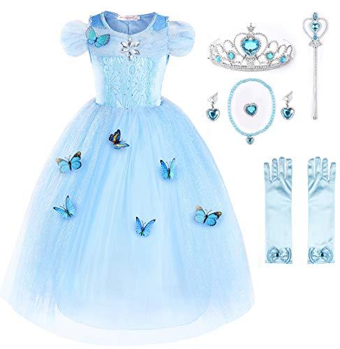 JerrisApparel Nuevo Vestido de niña Ceremonia Princesa Disfraz con Mariposa (140cm, Cielo Azul con Accesorios)